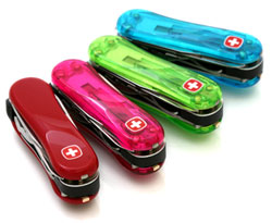 Wenger Swiss Clippers in Red, Lime Green, Blue Ice, and Watermelon Translucent Pink.